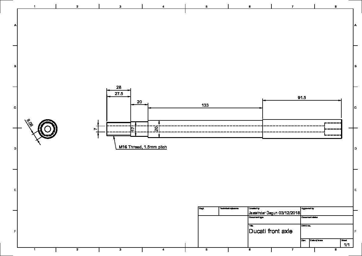 Front axle and spacer for motorcycle