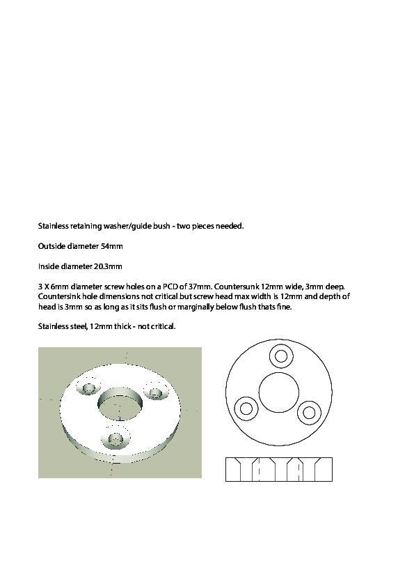 Two stainless steel washers/guide bush